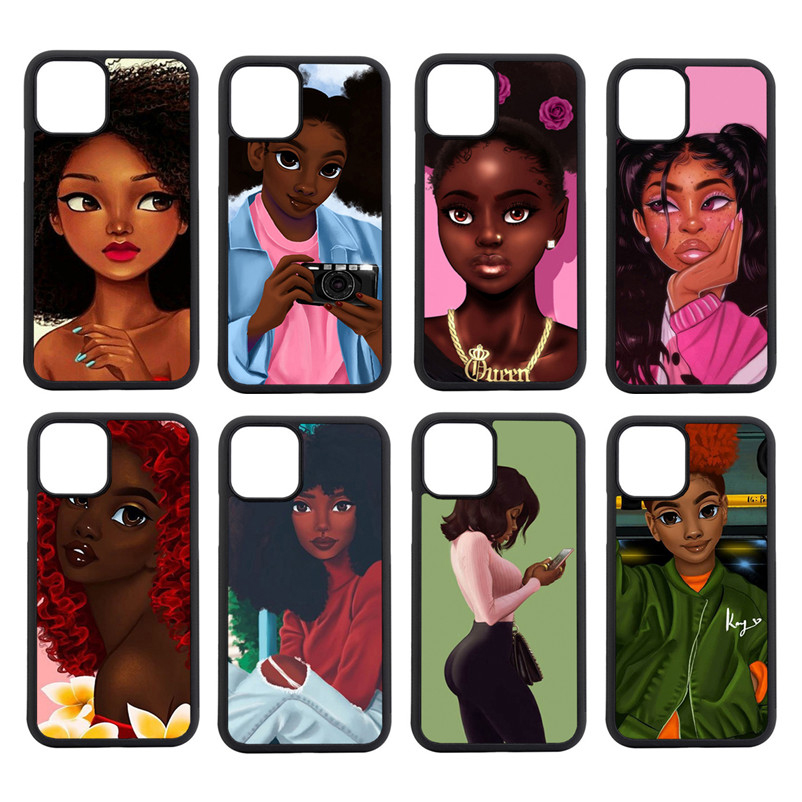 Black Is Beautiful Girl Art Soft Side Edge Mobile Phone Case For Iphone 5s se 6s 7 8 plus 11 pro <strong>max</strong> TPU Cover Bags