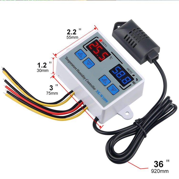 XK-W1099  Dual Digital Temperature Humidity Controller Home Fridge Thermostat Humidistat Thermometer Hygrometer