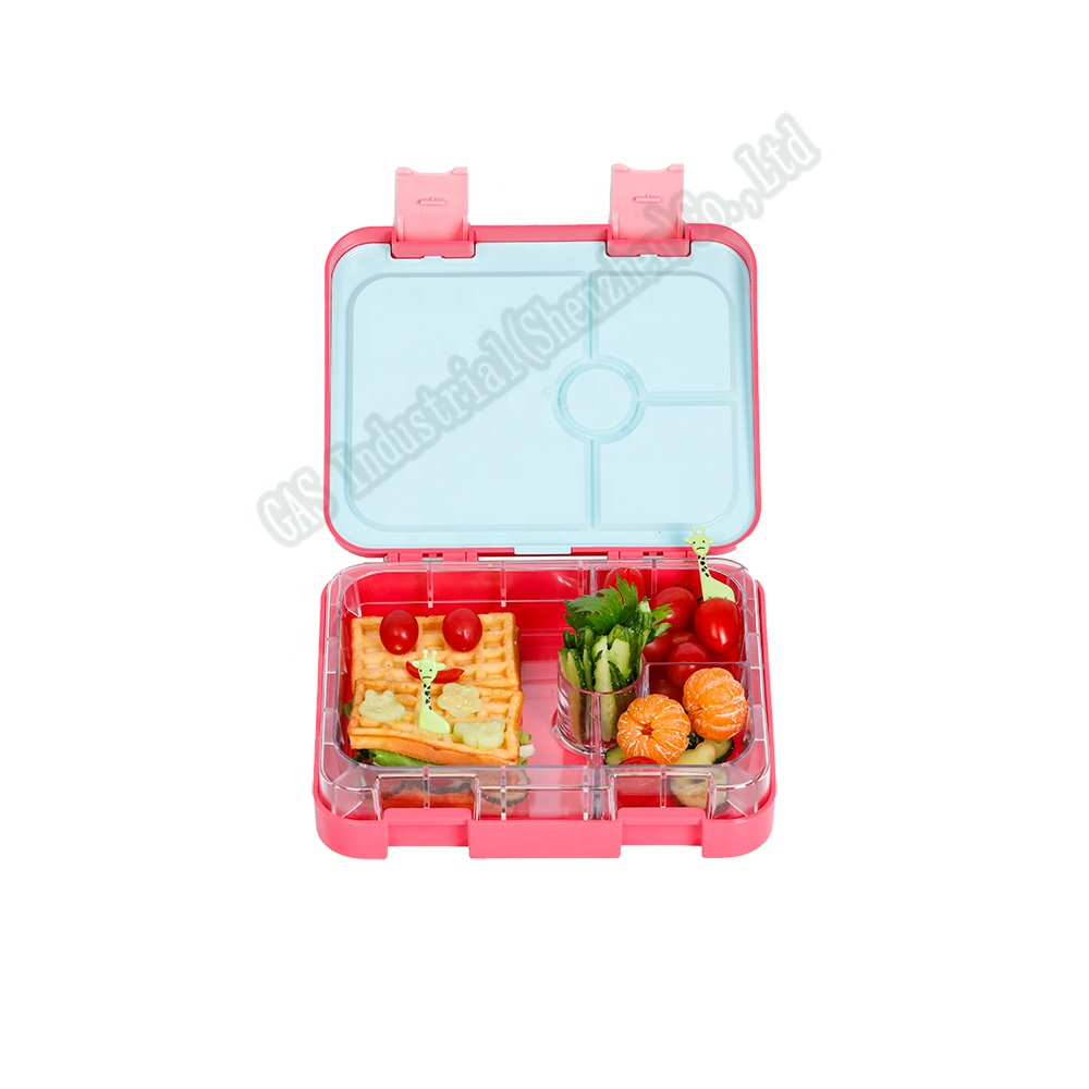 Stocked leak proof airtight seal lid Kids leak proof <strong>plastic</strong> 4 compartments tiffin bento lunch box