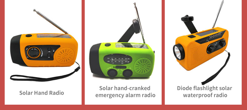 Portable FM/AM/NOAA 3 Band Radio with LED Flashlight Emergency Solar Hand Crank Dynamo for Smart phone Charger