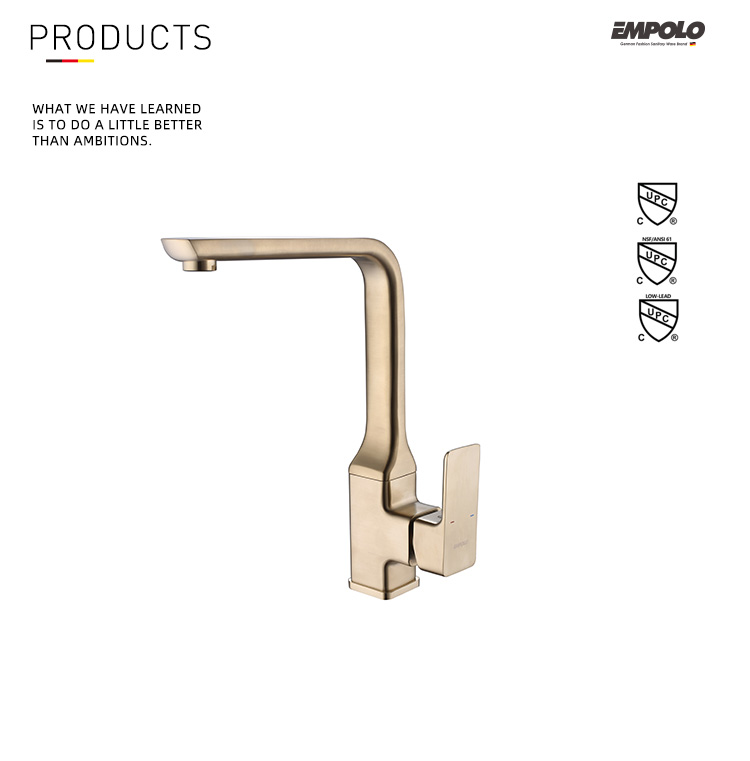 High-end Luxury Royal Gold Brass Single Handle Sink Faucet Kitchen Mixer