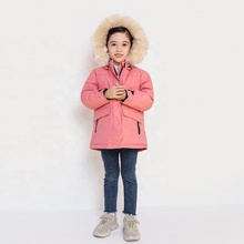 Fashion thick zipper windproof baby kids warm winter girl down coat with fur collar