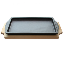 Steak Platter Grill Server Fajita <strong>Plate</strong> Rectangle Cast Iron Sizzling <strong>Plate</strong> Griddle with Wooden Base