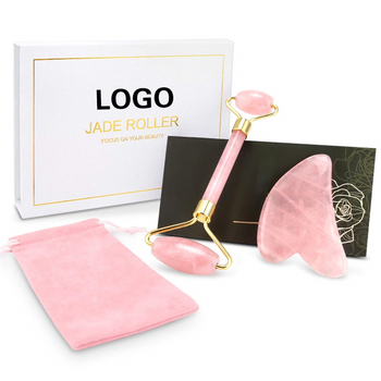 High Quality Beauty Anti Aging 100% Natural Stone Facial Skin Guasha And Pink Rose Quartz Jade Roller Massage For Face