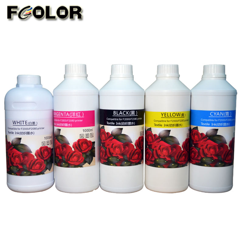 500ML 1L cmykw Textile Ink for Epson F2000 DTG Printer