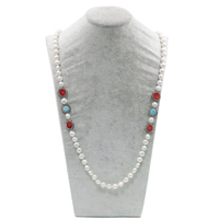Women Fashion 8mm Freshwater Pearl bead with Turquoise Charm & Red Coral Charm Jewelry Necklace