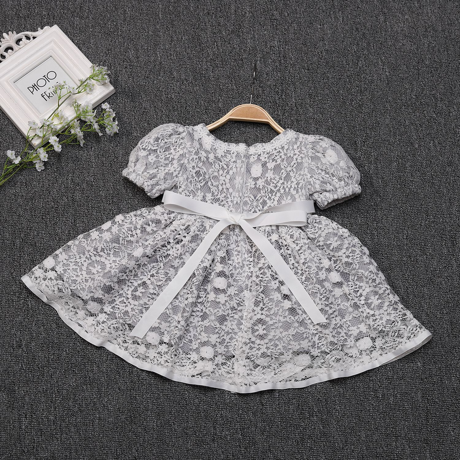 Elegant Soft Princess Toddler Clothes Sliver Gray Baby Formal Party Evening Dress For Girls Clothing