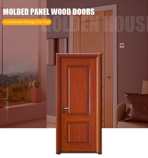 Factory made  solid wood HDF moulded panel exterior door oak veneer painting