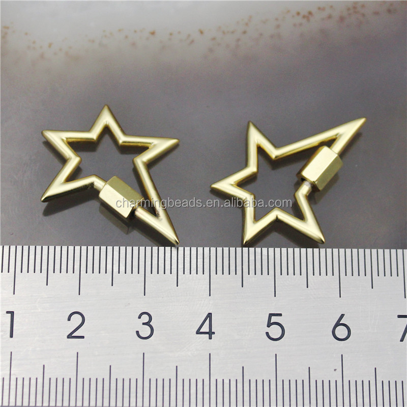 CH-HDP0218 Good quality star shape cz clasp,gold-plated cz charm,closure bracelet/necklace component wholesale