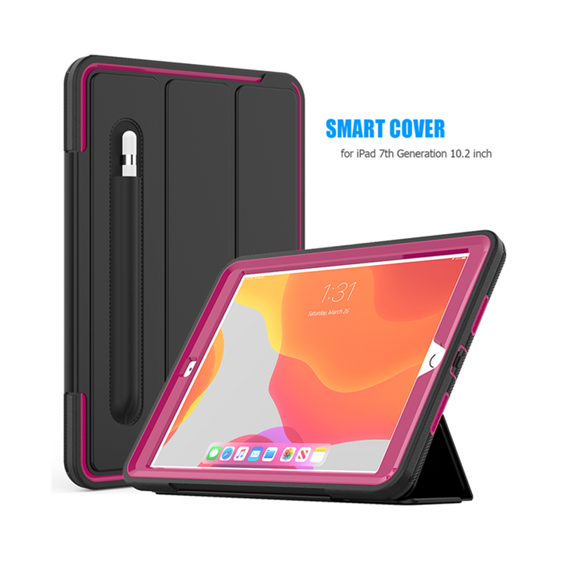 For <strong>ipad</strong> 10.2 2019 leather case tri-fold cover with auto awake&amp;sleep and kickstand feature