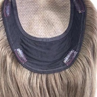 Wavy virgin cuticle aligned hair european human hair hair toppers full ends weft section topper with silk base topper