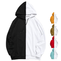 Men Fashion Two Colors Split Joint Sweatshirt Pullover Streetwear Hoodie