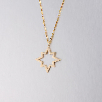 Personality Simple Jewelry Gold Hollow Star Geometric Women Stainless Steel Pendant Necklace