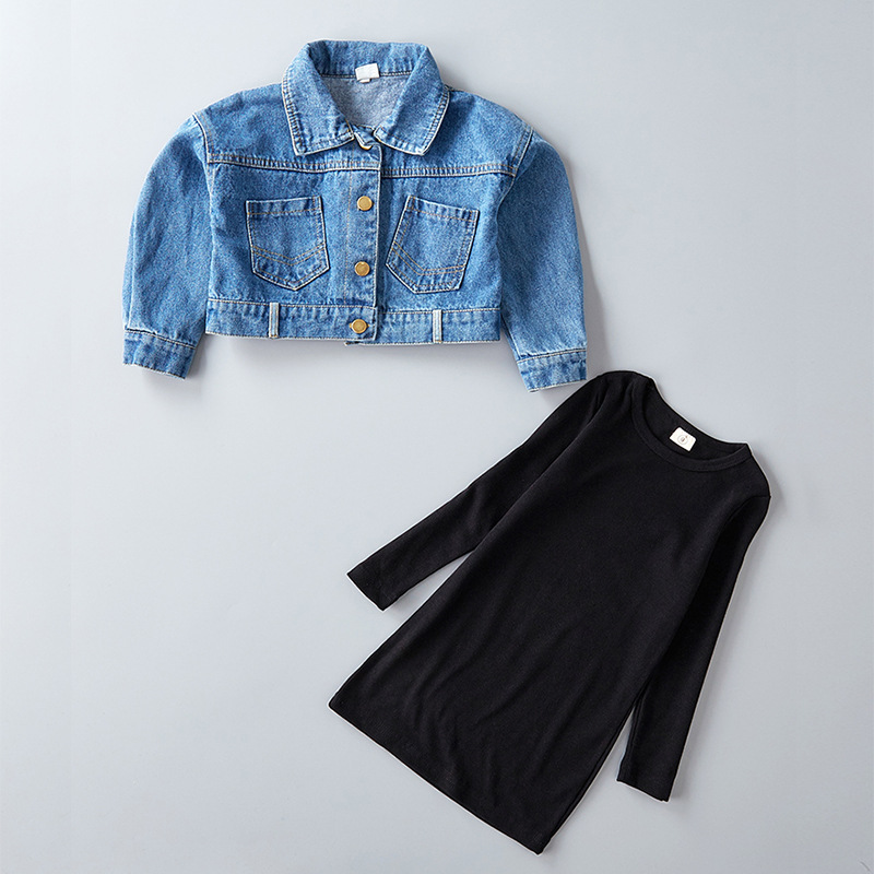 2020 <strong>Spring</strong> New Arrival Girls Fashion 2 Pieces clothes Sets Denim Coat+long Sleeve black Dress Kids cotton Clothes set