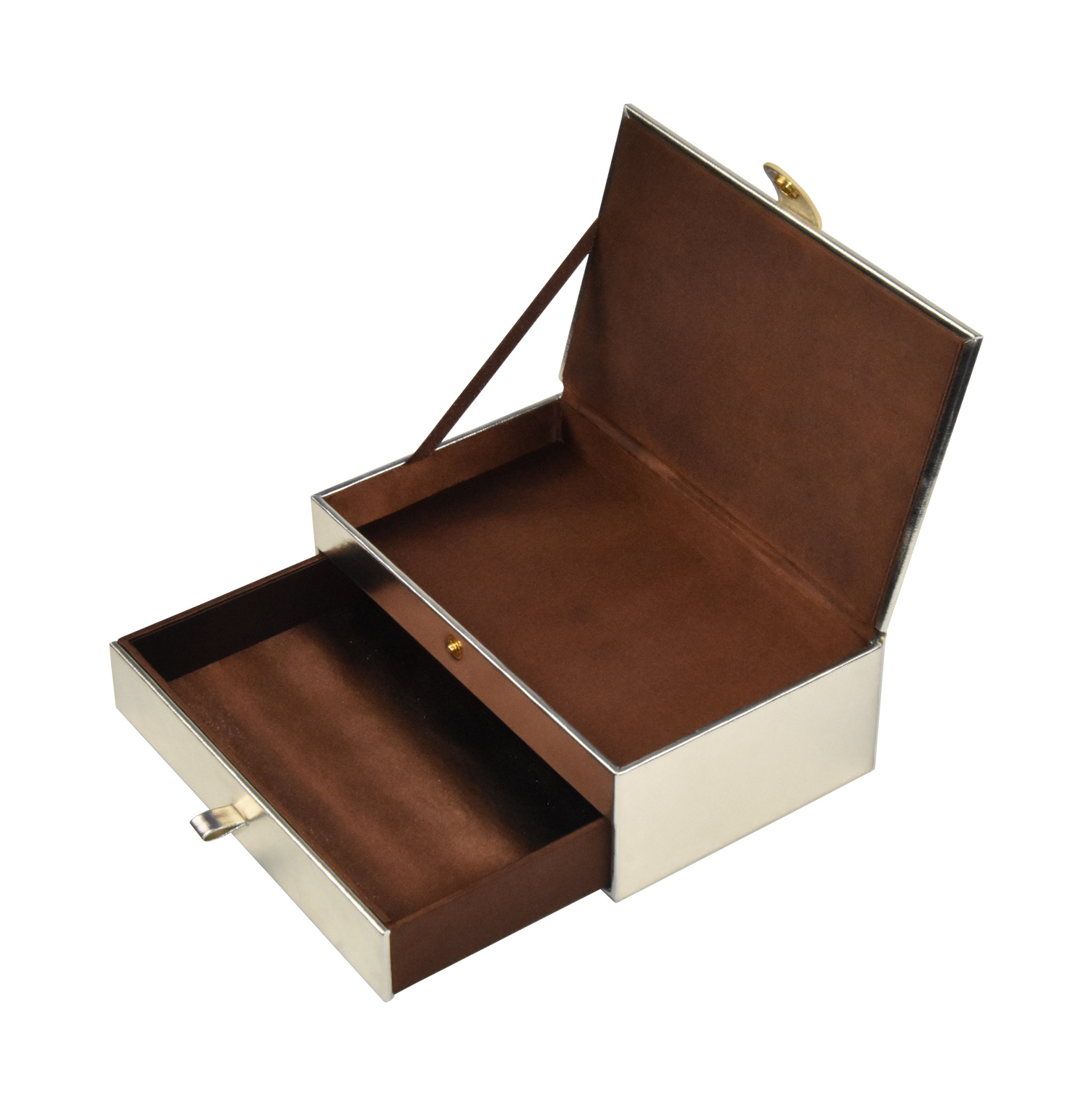Custom glossy double-layer leather gift box storaging box with drawer