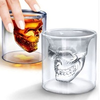 Heat Resisting Borosilicate Skull Shaped Double Wall Wine Whiskey Shot Glass Cup