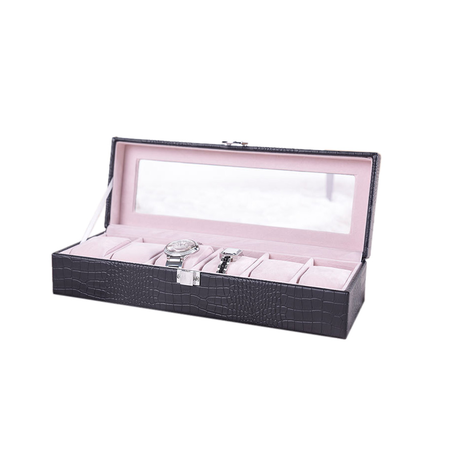 Clear Window Luxury Leather Storage Display Box 6 Slots Watch Travel Case