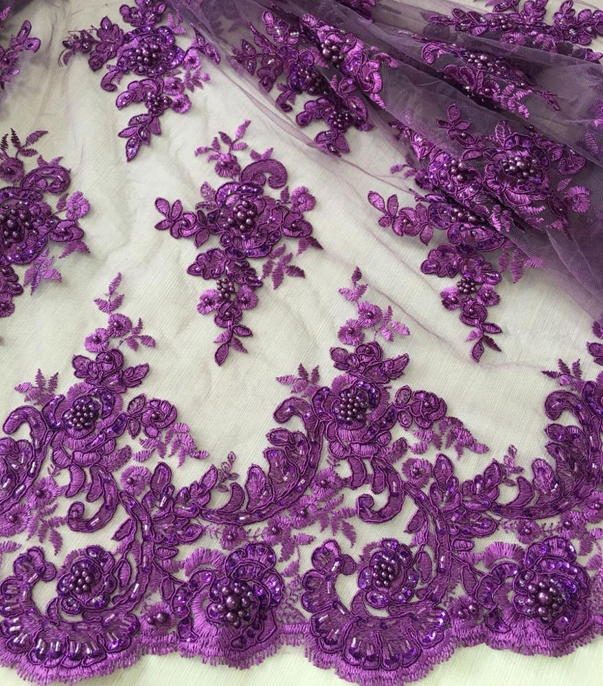 best selling purple color hand embroidery designs heavy sequin beaded lace fabric embroidery dress <strong>material</strong>