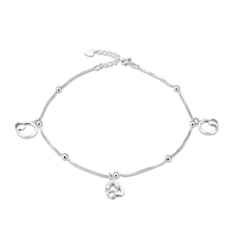 Dylam jewelry 2020 Vintage accessories  CZ stone 925 sterling silver women's anklet with heart