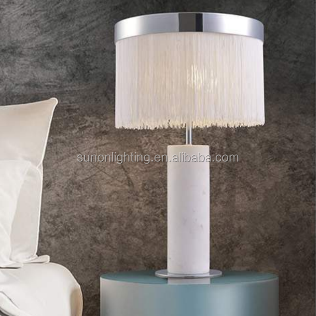 desk lamp Fabric round shade table lamp e27 light hotel guestroom metal bronze table light living room