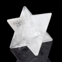 Hand Carved Gemstone 8 <strong>point</strong> Star Rock Crystal Quartz Crystal Merkaba Star