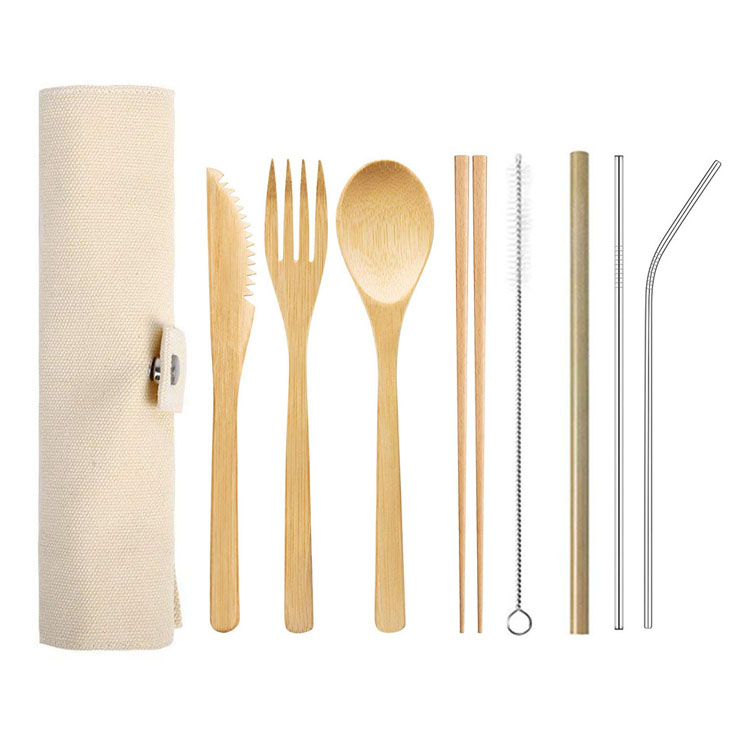 Biodegradable Bamboo Straw Toothbrush Spoon Fork Knife Travel Wooden Bamboo Cutlery <strong>Set</strong>