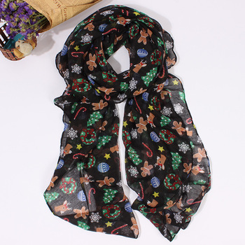 wholesale voile children christmas scarves funny scarf for child
