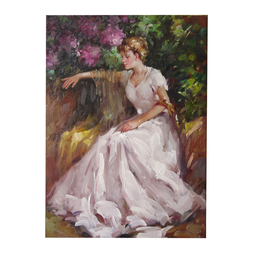 Handmade Famous Artist Reproduction Romantic Modern Beautiful Girl Impression Figure Oil Painting with Simple Frame