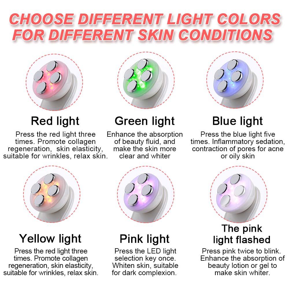 5 in1 RF EMS Electroporation LED 광자 치료 뷰티 장치 안티 에이징 페이스 리프팅 아이 페이셜 스킨 케어 도구