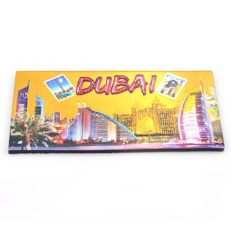 Dubai souvenir rubber soft fridge magnet pvc 3d refrigerator tourist city name fridge magnet with dubai building tower photo