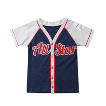 <strong>Boy's</strong> baseball embroidered cardigan <strong>T-shirt</strong> children's cotton short-sleeved trend clothing