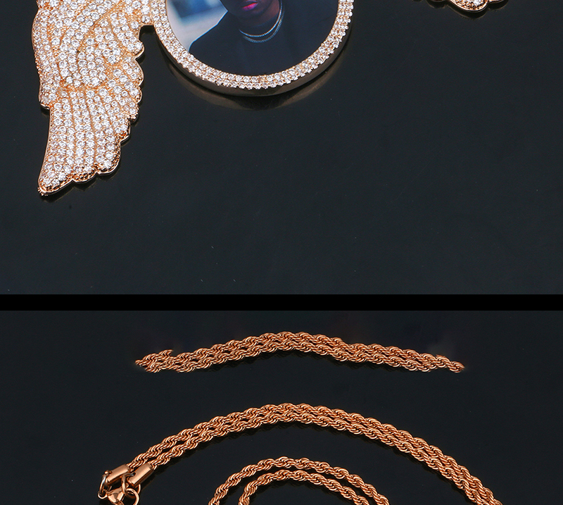 2019 Hot Sale Custom Photo Angle Wings  Necklace & Pendant Bling Cubic Zirconia with Tennis Chain Big Size Hip hop Jewelry