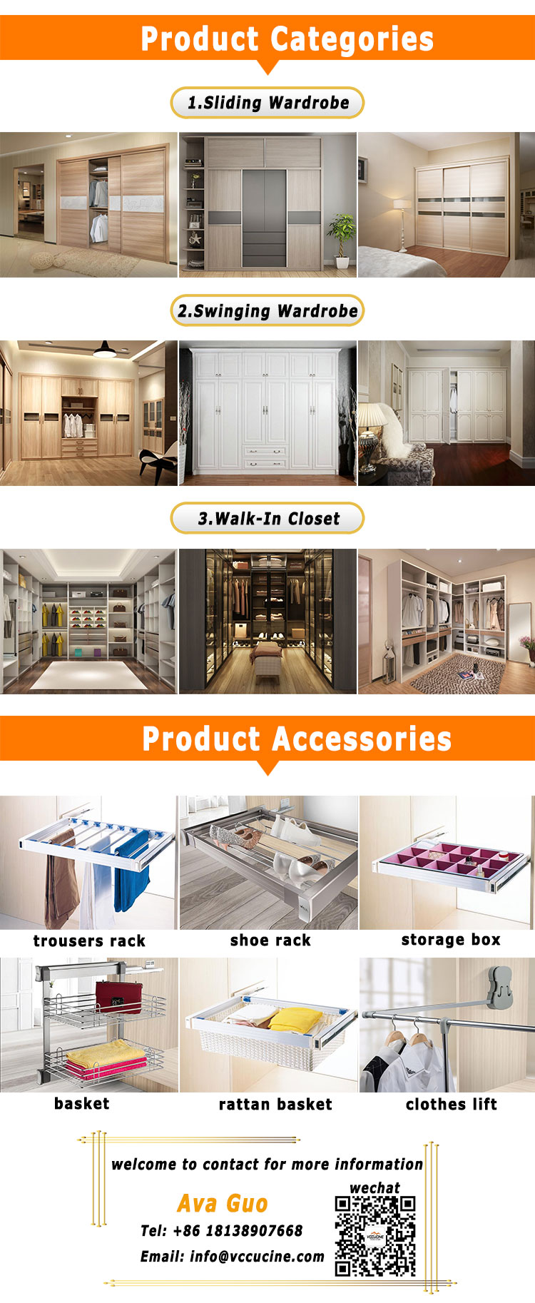 Factory price large capacity swing doors modern wood amoires wardrobe closet