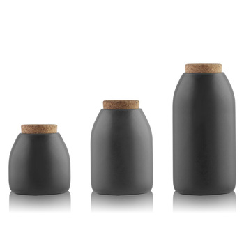 Best Price for Tea Sugar And Container with Cork Lids Black Storage Jars Tea Coffee Sugar