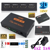 4K 2160P 1080P 3D HDCP FULL HD 4 Port 4K HDMI Splitter 1X4 1x2 1 x 4 1 In 4 Out Hub Repeater Amplifier Switcher HDTV