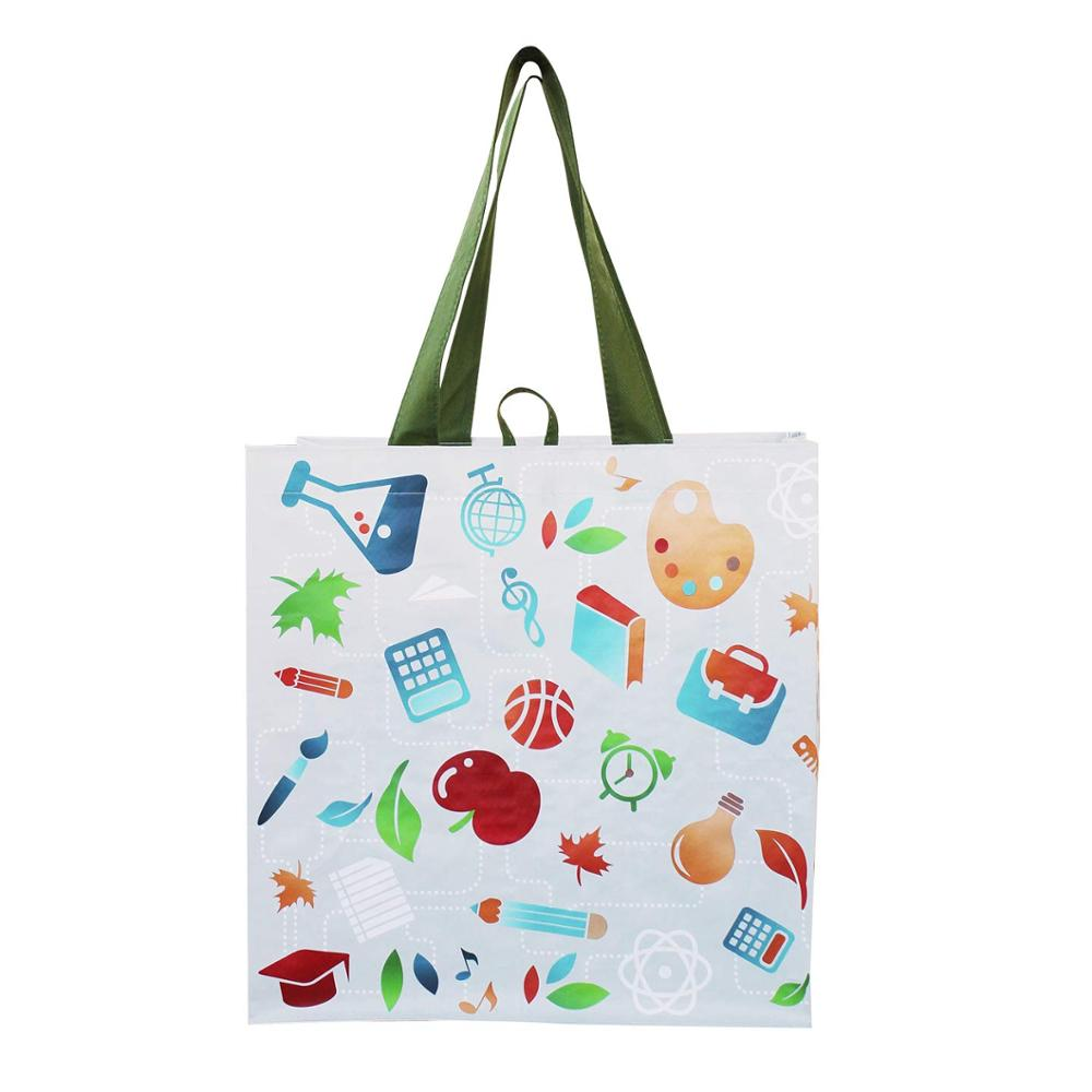 Grocery Shopping Bags Extremely Durable Multi Use Large Water-Resistant Totes Design laminated non woven bag