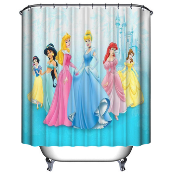 Manufacture Cartoon girls Printed PEVA Bathroom Shower Curtain