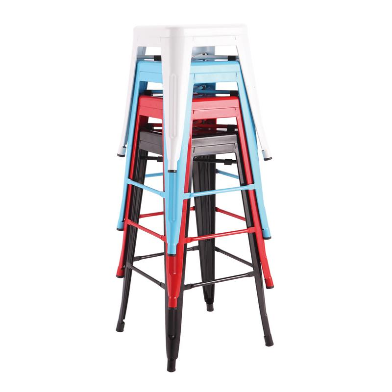 Restaurant furniture chair backless retro bar stool with colorful powder coating
