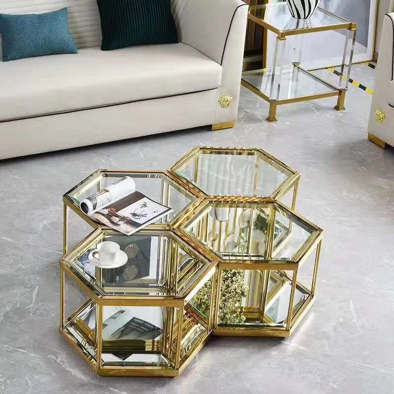 2019 New style stainless steel golden coffee <strong>table</strong> for living room glass center <strong>table</strong> set new design furniture for sale