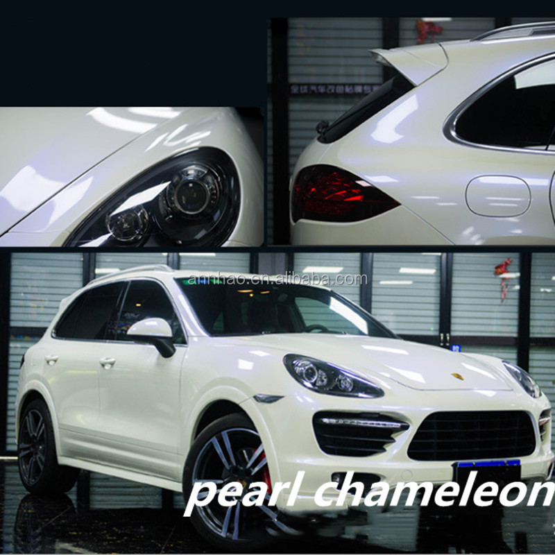 1.52*18m Air Release car change color film PVC Film  Pearl White Chameleon Vinyl Wrap