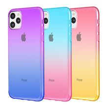 For <strong>iPhone</strong> 11 Case Crystal Clear <strong>Ultra</strong> Slim Double Color Gradient Shockproof Soft TPU Bumper Phone Case Cover For <strong>iPhone</strong> 11 Pro