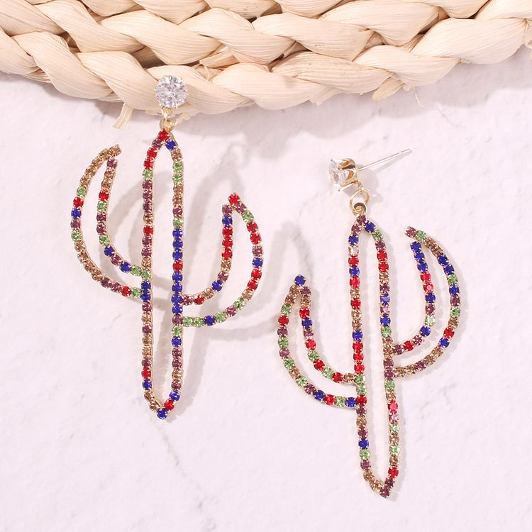 Fashion Women Personality Colorful Rhinestone Female European and American Literary Desert Cactus Drop Plant Earrings