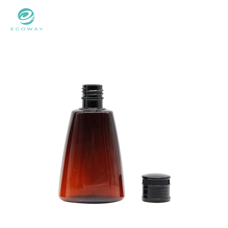 Special design amber pet plastic hotel hair shampoo bottle