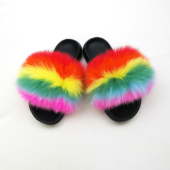 Ladies fashion home slippers for women fox fur slippers