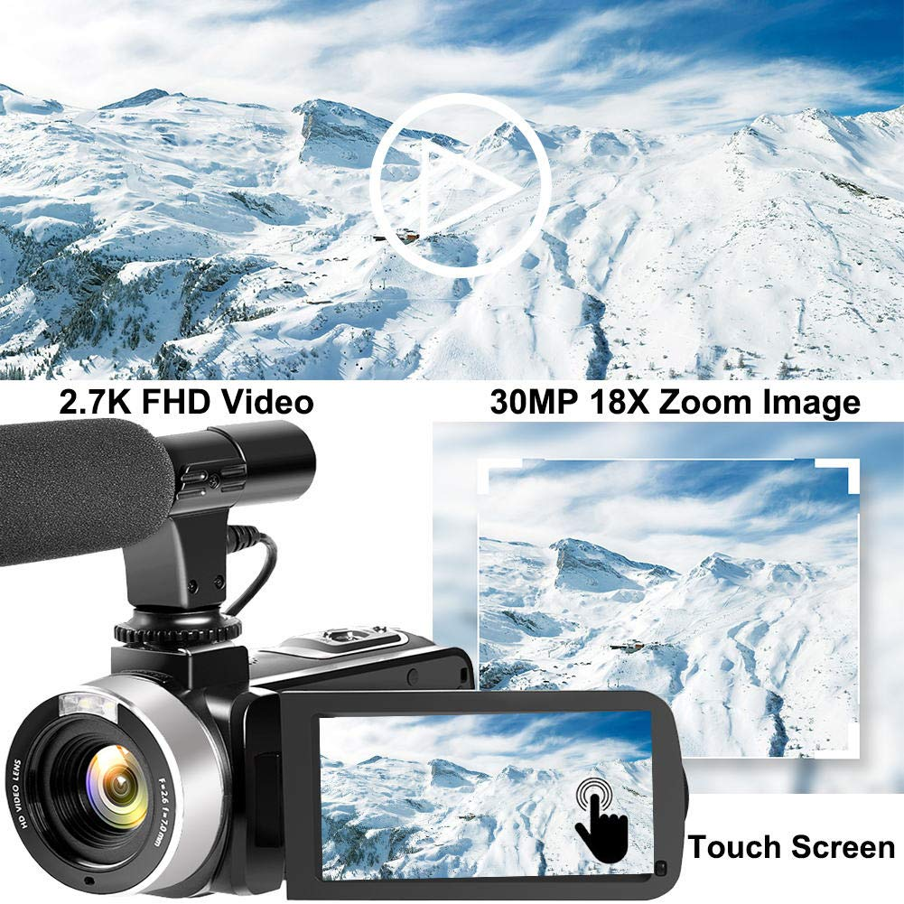 2.7K Full HD 30MP 18X Digital Zoom Camcorder with Microphone 3.0 Inch IPS Touch Screen Camcorder Video Camera