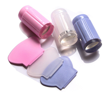 Clear Nail Stamper,Clear Silicone Nail Stamper Head fill of Plastic Holder ,2.8cm Nail Stamper With Plastic