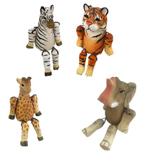 hot sell mini wooden carving wild animals <strong>shelf</strong> sitter