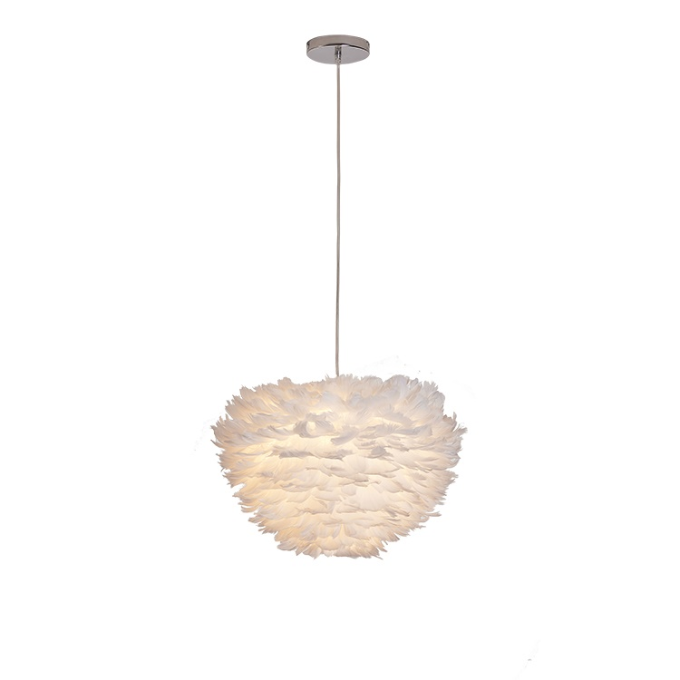 High quality yellow light creative living room feather modern chandelier pendant light