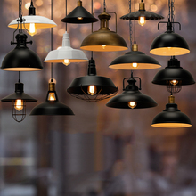 Industry Cafe Bar vintage suspended lamp fixture e27 black retro pendant light