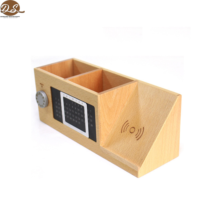 Factory directly solid oak charging function and storage pen handmade wood pen holder